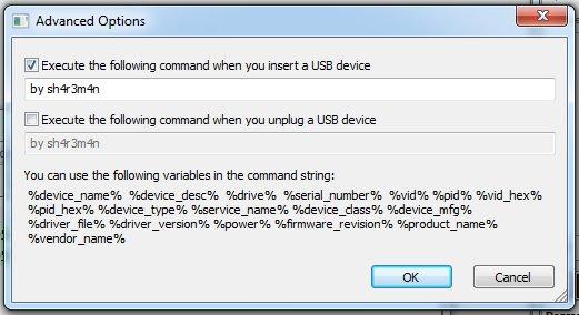 Opciones avanzadas de USBDeview