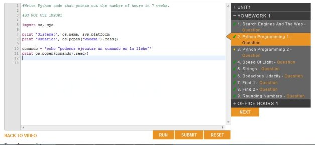 Consola de Python en UDACity